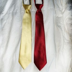 Va Heusen red & yellow silk zip up adjustable ties